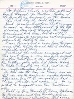 Harry Truman diary entry regarding recalling Douglas MacArthur, 6 Apr 1951