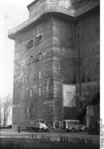 Main building of the Berlin Zoo Flak Tower, being used as a British-manned hospital, Berlin, Germany, 1946