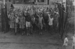 Recently liberated Allied prisoners of war at Selarang Barracks, Changi, Singapore, 1945