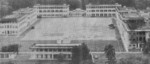 The central plaza of Selarang Barracks and surrounding buildings, Changi, Singapore, date unknown