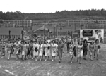 Scene of shift change at the Y-12 uranium enrichment facility in Oak Ridge, Tennessee, United States, circa 1945