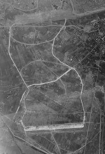 Aerial view of Giran Airfield, Giran (now Yilan), Taiwan, 1944-1945