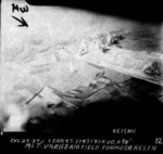 Hokuto Airfield under USS Langley carrier aircraft attack, Taiwan, 3 Jan 1945, photo 3 of 6