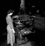 Eileen Dagg working on .303 Vickers machine gun parts at the John Inglis and Company factory in Toronto, Canada, May 1944