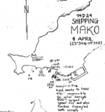 USAAF 498th Bombardment Squadron hand drawn map for the 4 Apr 1945 attack on Japanese shipping in Mako harbor, Pescadores Islands