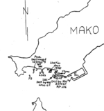 USAAF 500th Bombardment Squadron hand drawn map for the 4 Apr 1945 attack on Japanese shipping in Mako harbor, Pescadores Islands
