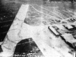 Matsuyama Airfield, Taihoku (now Taipei), Taiwan under attack by aircraft from USS Bunker Hill, 12 Oct 1944, photo 1 of 3