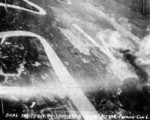 Matsuyama Airfield, Taihoku (now Taipei), Taiwan under attack by aircraft from USS Bunker Hill, 12 Oct 1944, photo 2 of 3