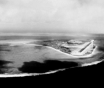 Aerial view of Sand Island, Midway Atoll, 17 Jan 1990
