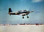SB2U-3 Vindicator aircraft of US Marine Corps squadron VMSB-241 taking off from Eastern Island, Midway Atoll, 4-6 Jun 1942, photo 1 of 3