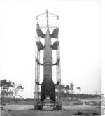 V-2 rocket prepared for launch, Peenemünde, Germany, 1940s, photo 1 of 2