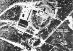 British aerial reconnaissance photograph of V-2 rockets at Peenem?nde Test Stands I and VII, Germany, 12 Jun 1943