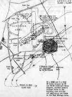 Post-mission map of the Air Group 80 of USS Ticonderoga 3 Jan 1945 attack on Taichu Airfield, central Taiwan