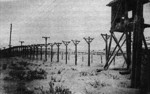 Fence and guard tower at Vorkuta Gulag work camp, Komi Republic, Russia, date unknown
