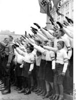 Hitler Youth members at the inauguration of Gauleiter Arthur Greiser and Minister Wilhelm Frick, Posen, Germany, Oct 1939