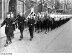 Hitler Youth members marching during the inauguration of Arthur Greiser and Wilhelm Frick, Posen, Germany, Oct 1939