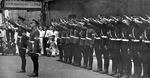 Hitler Youth members arriving at Yokohama, Japan, 16 Aug 1938; in this photo they had just greeted their hosts with