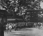 Hitler Youth members visiting the Meiji Shrine, Tokyo, Japan, Sep 1938, photo 1 of 2