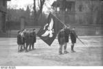 Hitler Youth members with a flag, Worms, Germany, 1930s