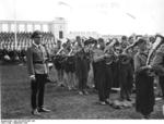 Baldur von Schirach supervising the rehearsal of a Hitler Youth band prior to a party rally event, Nürnberg, Germany, 6-12 Sep 1938