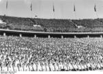 Nazi Party youth organization members at the Berlin Olympic Stadium, Germany, 1 May 1937