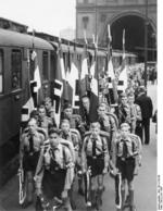 Hitler Youth boys from Steglitz and Tempelhof areas of Berlin waiting to board a train for summer camp, Berlin, Germany, late Jun 1937