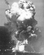 Explosion aboard USS Colombia after being struck by a Japanese Army Ki-51 special attack aircraft, Lingayen Gulf, Philippine Islands, 6 Jan 1945