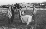 Re-enactment of a ceremony typically held before a special attack mission, Chofu Airfield, Tokyo, Japan, Nov 1945