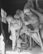 Sculptor Felix de Weldon working on the plaster model of the US Marine Corps War Memorial, circa 1954, photo 4 of 7