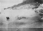 Takao (now Kaohsiung) harbor, Taiwan under US Navy carrier aircraft attack, 12 Oct 1944, photo 3 of 6