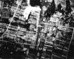 Cargo train under aerial attack by USS Wasp aircraft, Taiwan, 3 Jan 1945