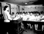 African-American US Army nurses in a classroom at the Army Nurse Training Center in England, United Kingdom, 5 Sep 1944