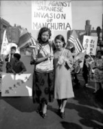 Chinese-Americans Jean and Gertrude Moy protesting against the Japanese invasion of northeastern China, Chicago, Illinois, United States, 29 Sep 1931, photo 1 of 2