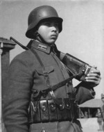 Chinese soldier during the Battle of Wuhan, Hubei Province, China, mid-1938; note German gear