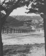 Men of US 2nd Marine Regiment marching near Camp McKay, New Zealand, 1943