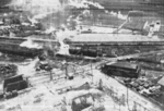 Kagi butanol plant under attack by B-25 bombers of 3rd Bombardment Group, USAAF 5th Air Force, Kagi (now Chiayi), Taiwan, 3 Apr 1945, photo 3 of 5
