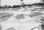 Explosions in the vicinity of the Kagi rail marshalling yard during US bombing, Taiwan, 3 Apr 1945