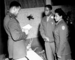 African-American US Army Chaplain Wm Green presiding over wedding of Pfc Florence Collins (6888th Postal Directory Bn) and Cpl Wm Johnson (1696th Labor Supervision Co), Rouen, France, 19 Aug 1945