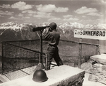US soldier sightseeing in the Tyrol Schistose Alps, Lans, Austria, 13 May 1945