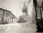 A bridge being destroyed by US Army engineers, Germany, 22 Jan 1945