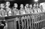 Accused Japanese war criminals Sadaichi, Nakamura, Shoxo, Jinichiro, Majoto, Tamotsu, Mesami, Ken, Ryuichi, and Tadasu on trial at the Supreme Court of Singapore, 21 Jan 1946