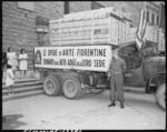 One of the several American trucks that returned looted Italian artwork to Florence, Italy, 23 Jul 1945