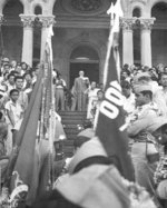 Governor of Hawaii Ingram Stainback speaking to returning Japanese-American veterans of US 442nd Regimental combat Team from the steps of the Iolani Palace, Honolulu, US Territory of Hawaii, 9 Aug 194