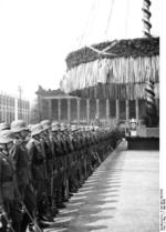 Nazi Party gathering outside the museum at Lustgarten, Berlin, Germany, 1 May 1936, photo 1 of 7
