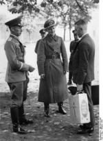 German military recruit reporting to a sergeant, Berlin, Germany, 19 Oct 1936