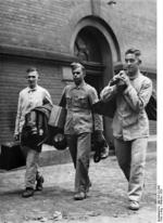 German cadet with two recruits, Berlin, Germany, 19 Oct 1936