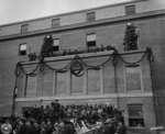 General view of the speakers platform of the Pentagon building during the Christmas exercise, Arlington, Virginia, United States, 24 Dec 1942