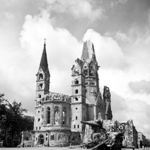 The war damaged Kaiser Wilhelm Memorial Church, Berlin, Germany, 7 Jul 1945