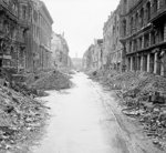 Scene of destruction in a Berlin, Germany street just off the Unter den Linden, 3 Jul 1945