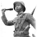 Soldier of the Chinese 88th Division posing with Zhongzheng Type rifle and Model 24 Stielhandgranate grenade